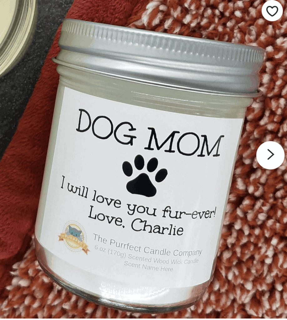 Personalized Dog Mom Candle